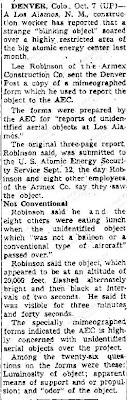 Strange 'Blinking Object' Soars Over Los Alamos Atomic Center (Body) - The Lowell Sun 10-7-1950