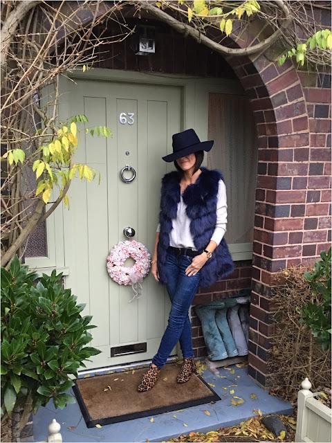 My Midlife Fashion, Zara hat, faux fur gilet, boden cashmere loose fit boyfriend jumper, zara skinny jeans, Joni b leopard print boots