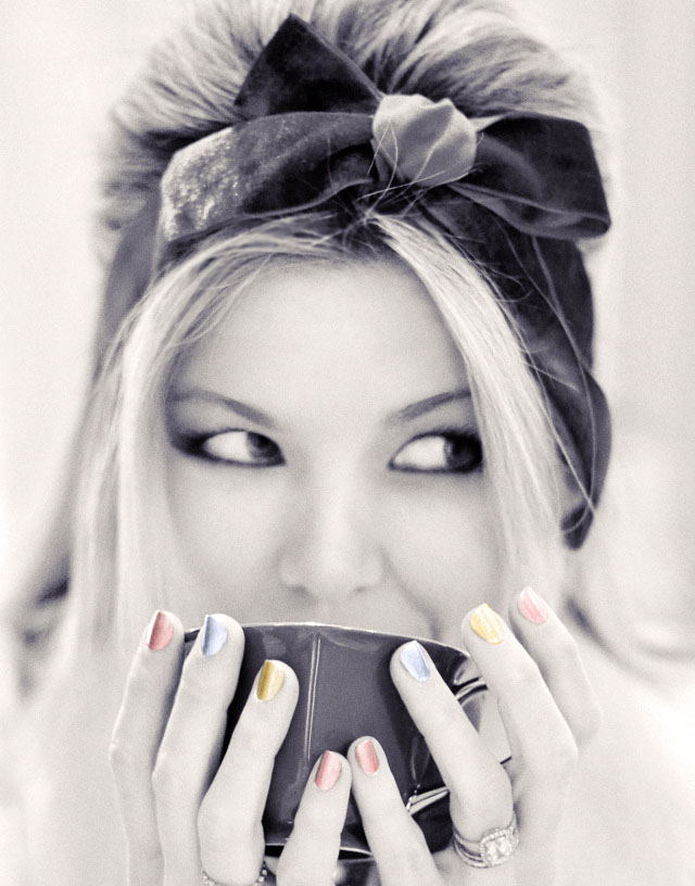 black and white photo, sipping tea, metallic nails