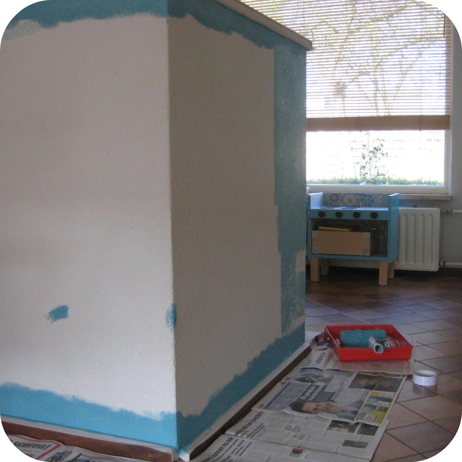Blauw roze kleuren Muur ontwerp