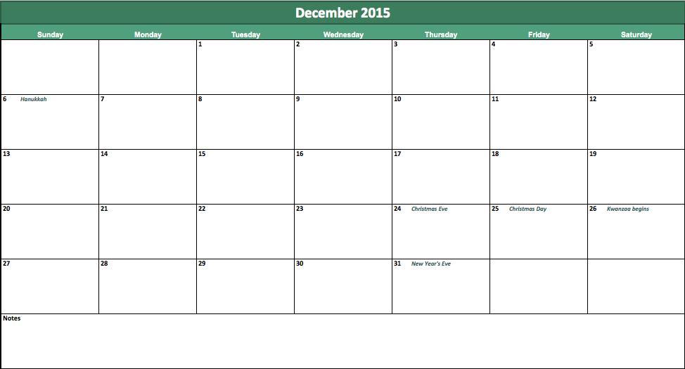 Printable Calendar 2016: December 2015 Printable Calendar A4 and ...