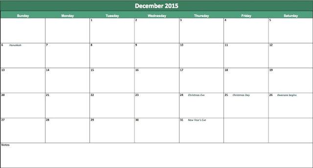 December 2015 Blank Calendar Printable A4