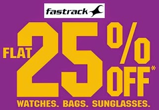Flat 25% Off on Fastrack Watches, Sunglasses, Bags, Wallets, Belts at Flipkart