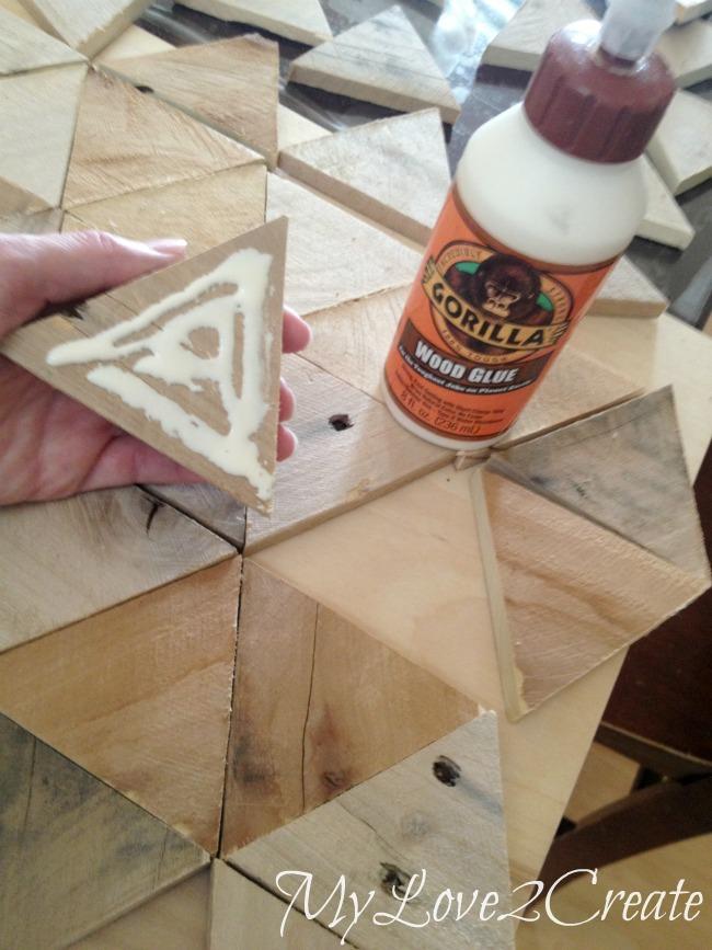 using gorilla glue to add pallet triangles