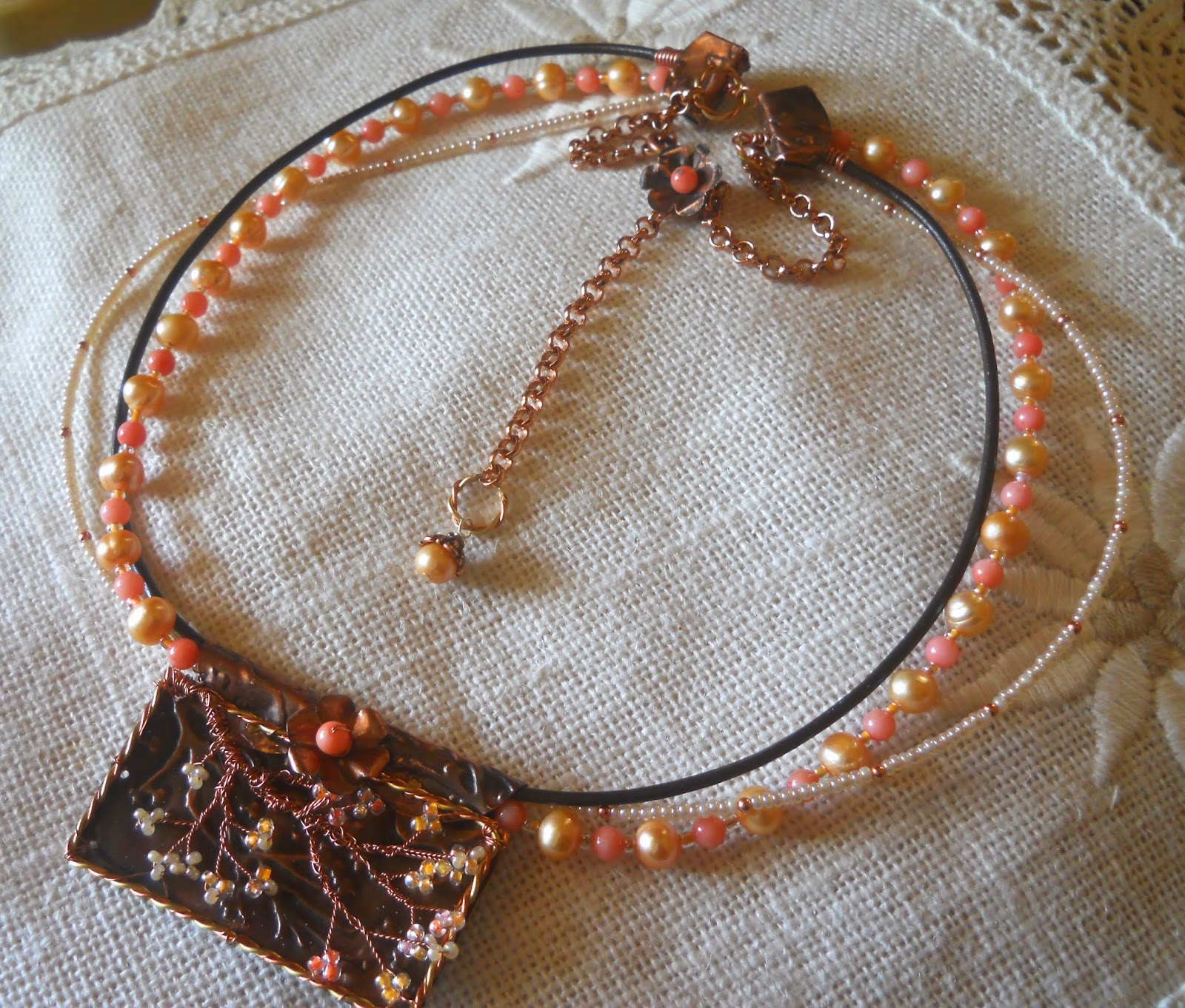 pearl & coral necklace with copper cherry blossoms