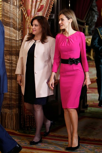Queen Letizia of Spain (R) receive President of Honduras wife Ana Rosalinda Garcia (L) at the Royal Palace on 01.10.2014 in Madrid, Spain