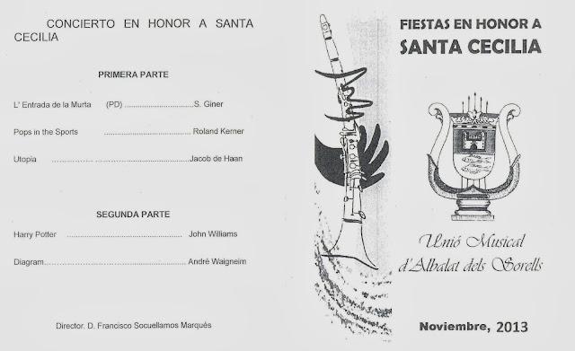 Programa de actos Santa Cecilia 2013