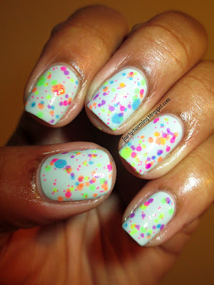Lush Lacquer Clowning Around, Bongo Mint Chip Madness, mint, glitter, hexagon, neon, nails, nail polish, nail design, mani