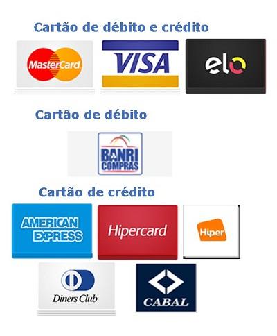 Aceitamos cartão de débito e crédito