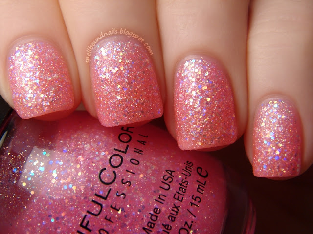 nails nailart nail art polish mani manicure Spellbound Lacquer color swatch Pinky Glitter pink holographic rainbow shimmer pink light hot