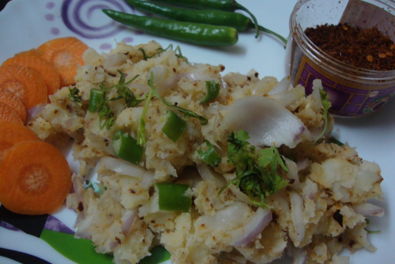 Khorisa mashed potato with dried fish hukan maasor logot for Assamese cuisine fish