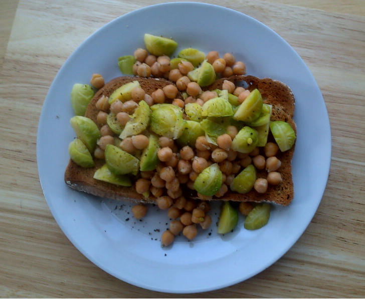 ... Rocket & Roses Brussels Sprout & Chickpeas with Oregano on GF Toasts