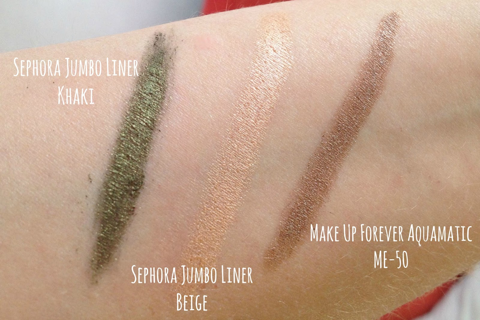 Sephora Jumbo Liner 12H Wear Waterproof Khaki, Beige and Make Up Forever Aqua Matic ME-50 swatches
