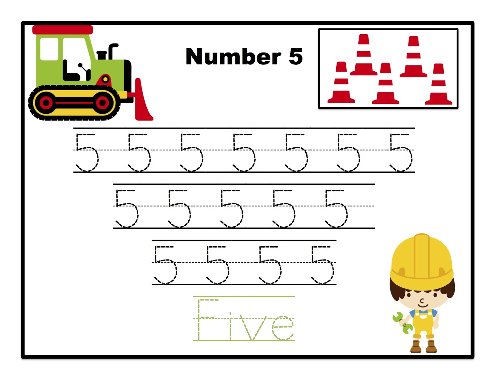 construction number tracing printable