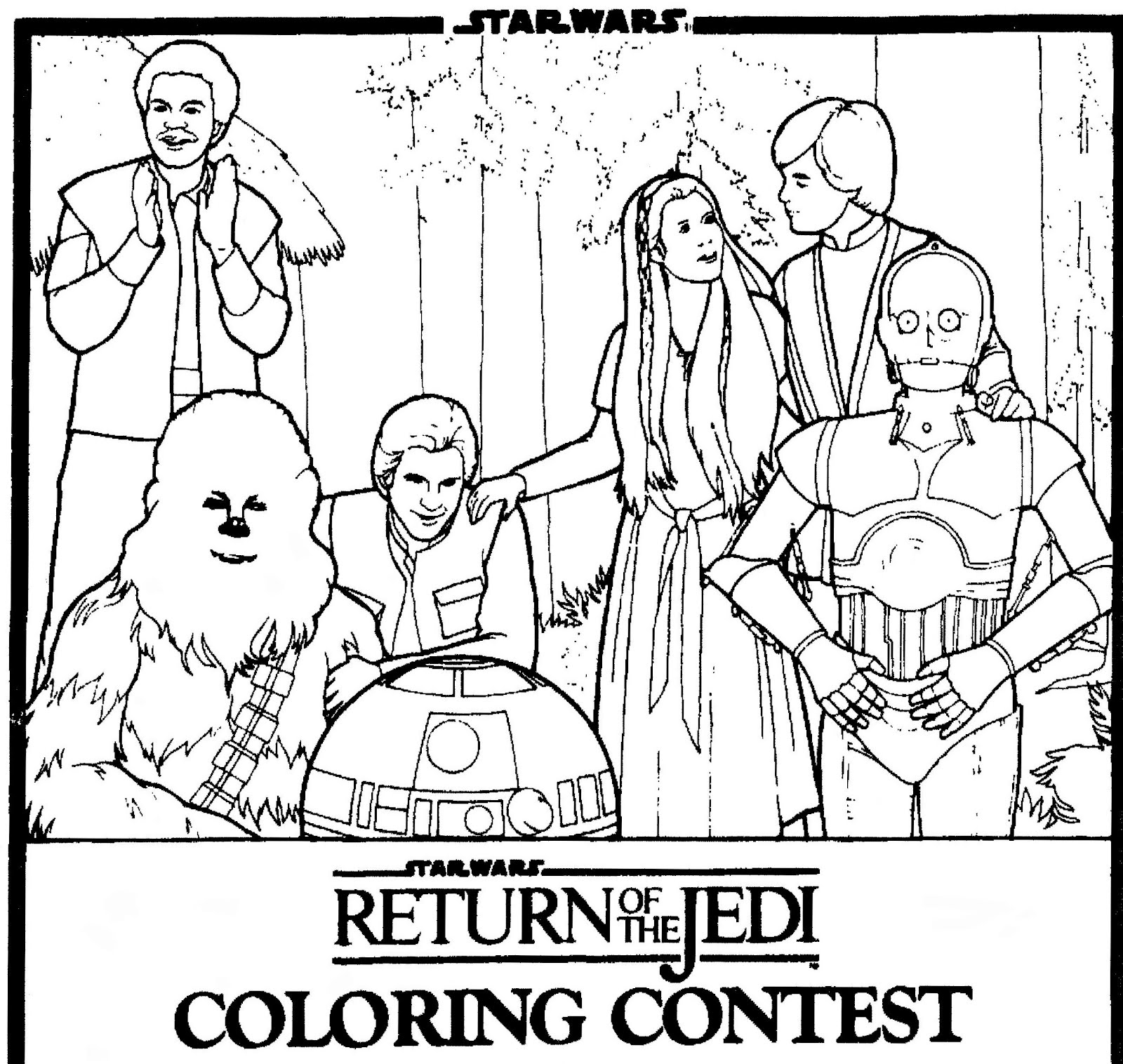 mostly paper dolls return of the jedi coloring contest