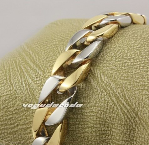 "7.6"" Cool 316L Stainless Steel Silver & Golden Men`s Bracelet 5K013"
