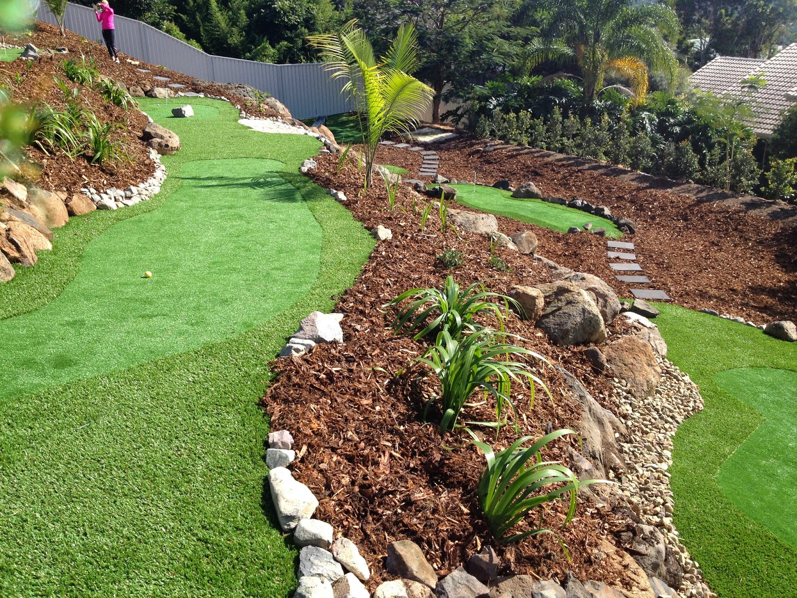 Grass solutions pty ltd problem steeply sloping rear for Sloped yard solutions