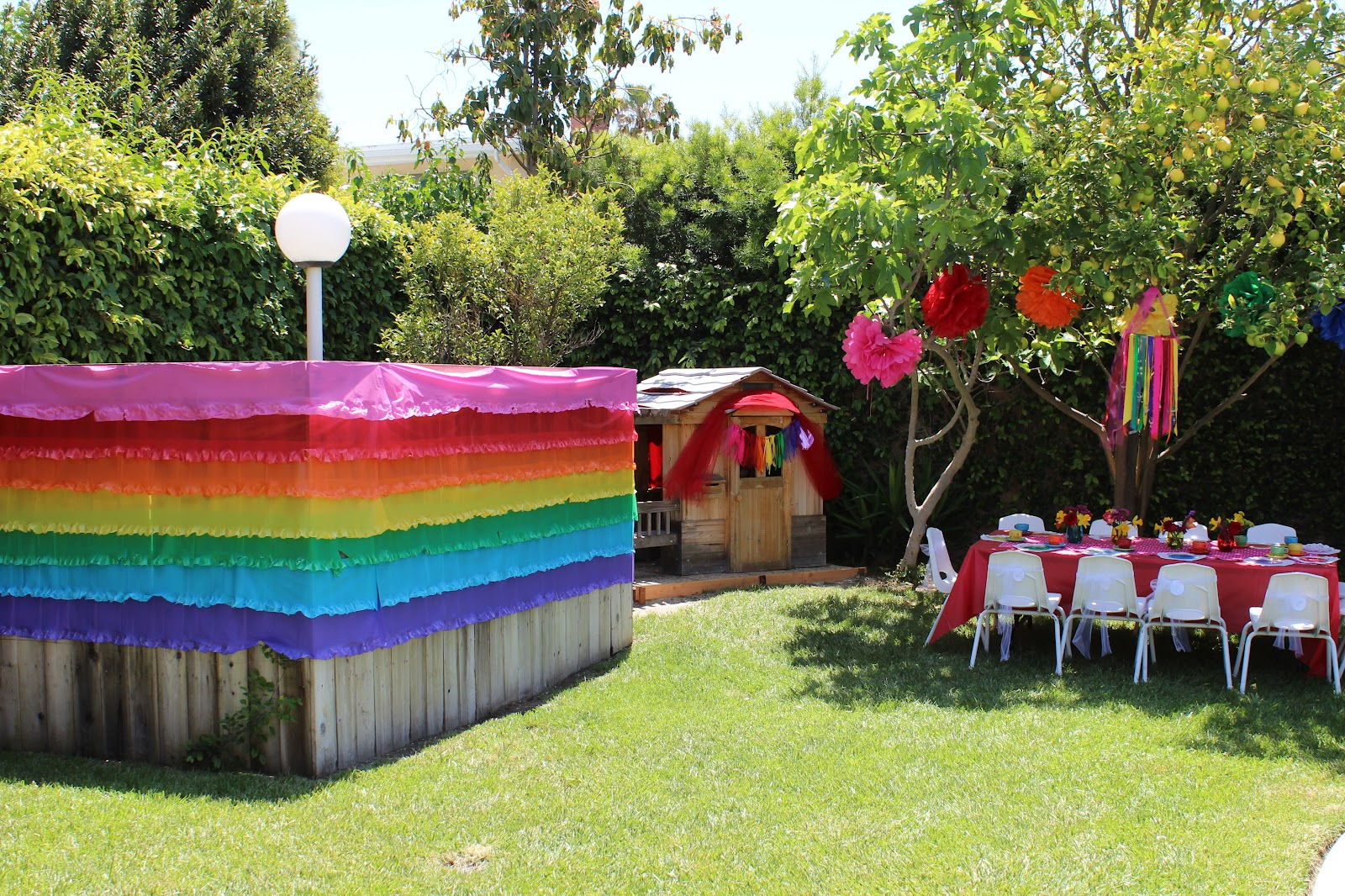 Not my own the rainbow tea party for Backyard party decoration ideas