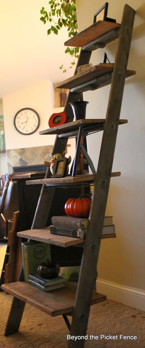 salvaged, decor, shelf, ladder, barn wood, Beyond The Picket Fence, http://bec4-beyondthepicketfence.blogspot.com/2013/10/ladder-shelf.html