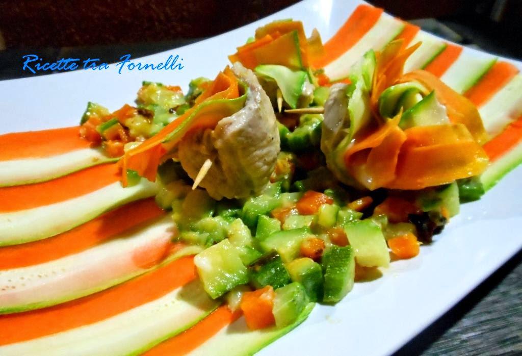 ventagli di lonza, zucchine e carote