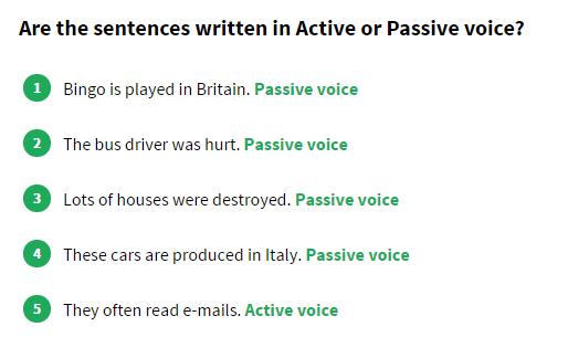 Englisch hilfen passiv