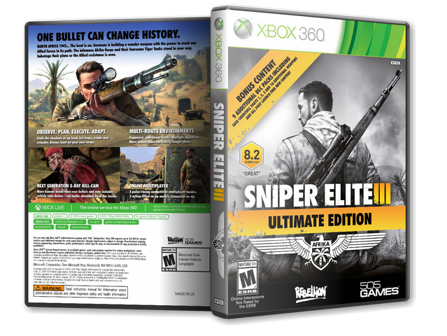 Capa Sniper Elite 3 Ultimate Edition Xbox 360