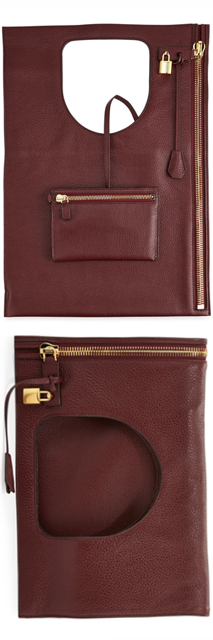 TOM FORD Alix Leather Padlock & Zip Fold-Over Bag