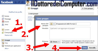 creare gruppo facebook