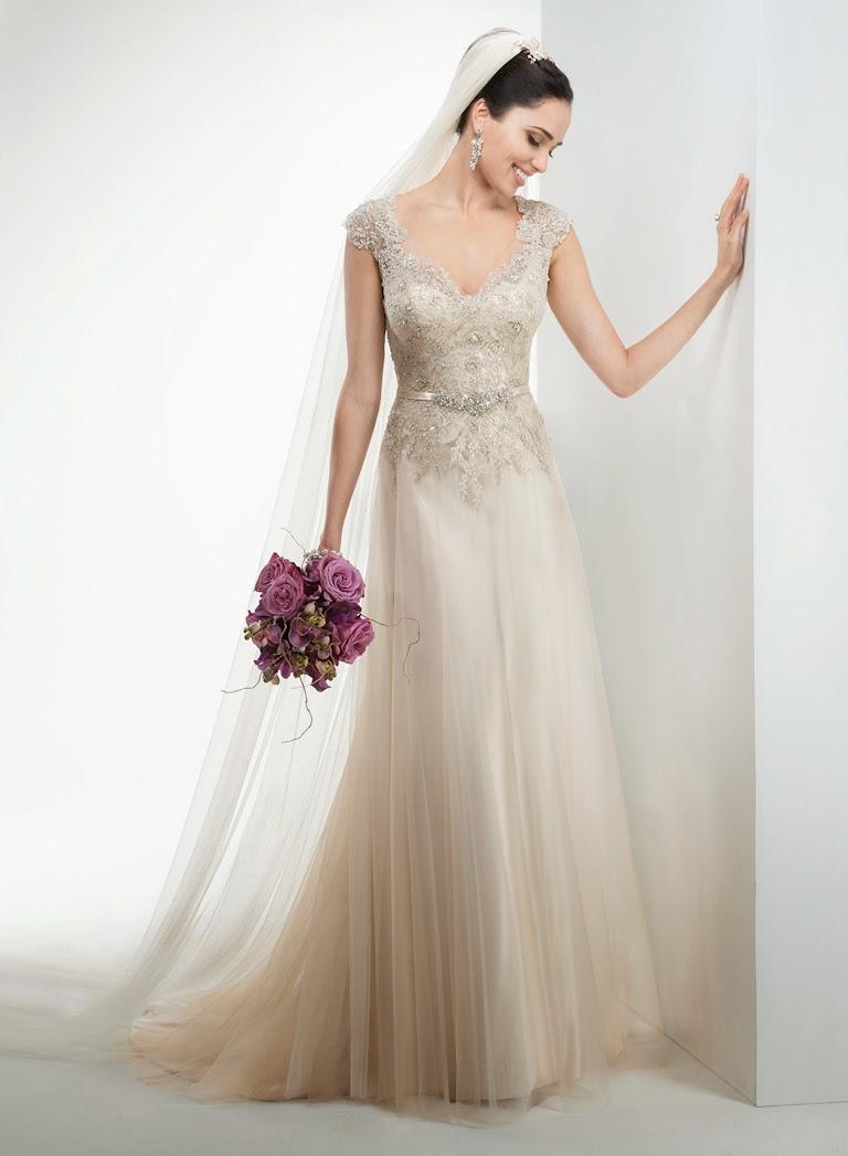 Elegantes Tüll Brautkleid, Hochzeitskleid fliessend schulterbedeckt mit Träger aus Spitze..