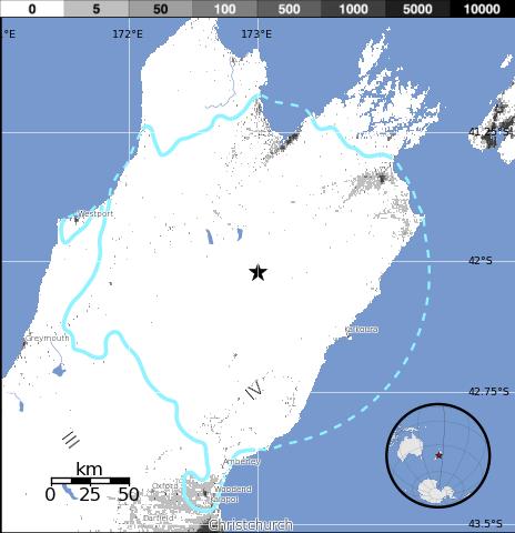 Epicentro terremoto en isla Sur de Nueva Zelanda, 24 de Abril 2015