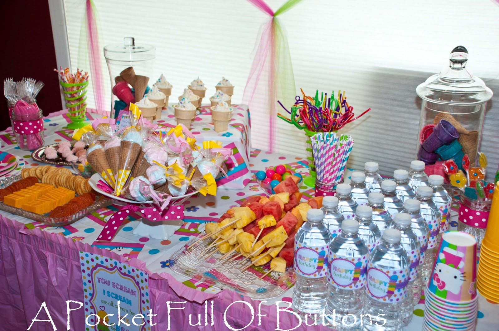 a pocket full of buttons hello kitty ice cream social birthday party