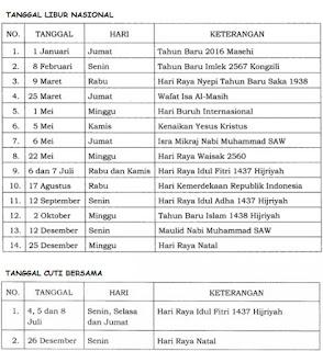 Kalender Daftar Hari Libur Nasional dan Jadwal Cuti Bersama Tahun 2016