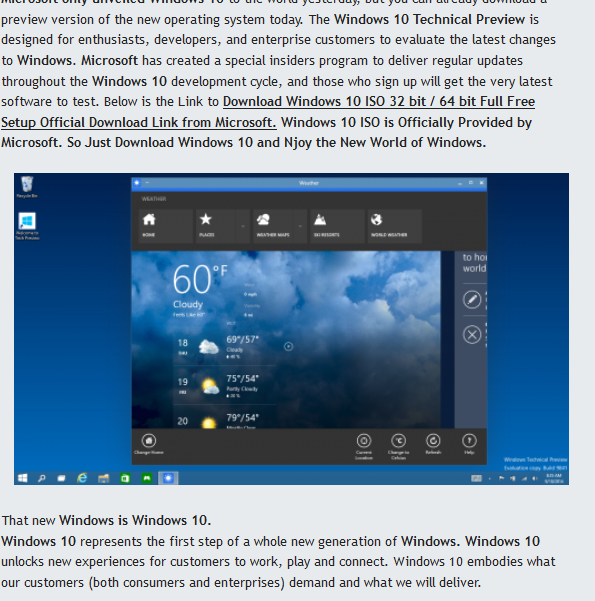 Windows 10 ISO Full Version Free Download  For 32 Bit/64 Bit