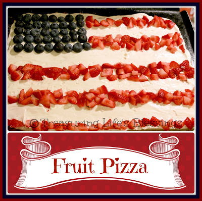 sugar cookie, fruit pizza, flag, food, dessert