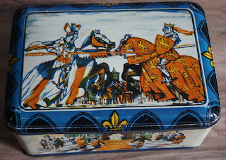 vintage tin box with knights