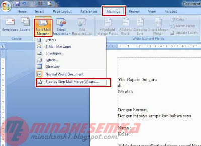 Membuat Mail Merge Di Microsoft Word