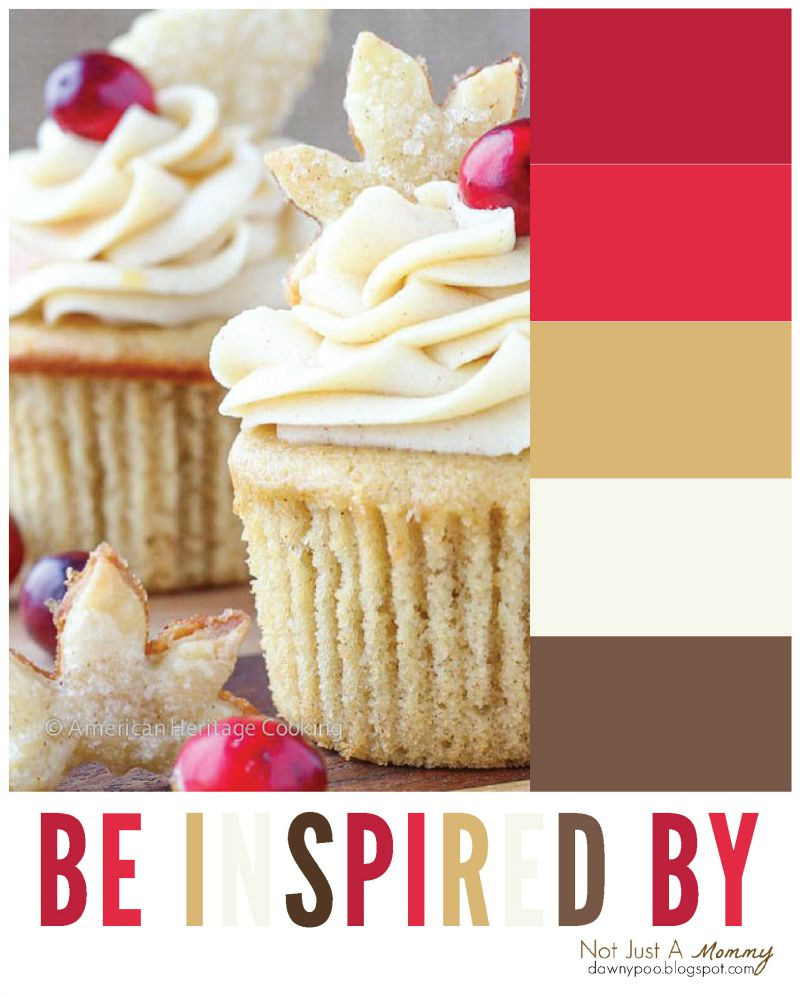 Be inspired by the color palette of Spiced Apple Cider Cranberry Cupcakes