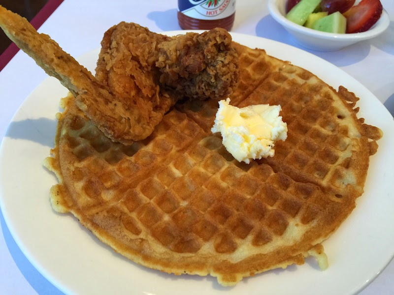 Chicken and waffles at the Sunday breakfast brunch at Souls Restaurant in Oakland, CA