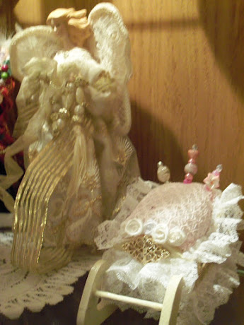 Angel with pink shabby chic sleigh