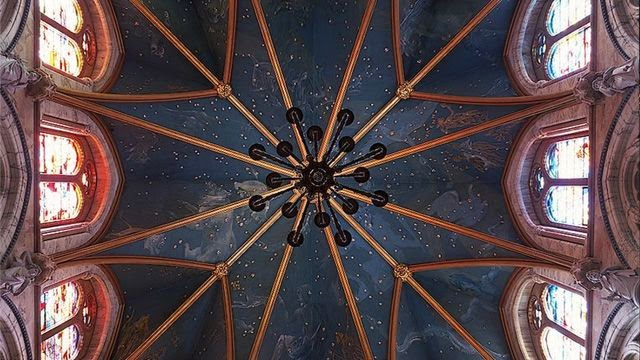 Marble Hall ceiling with constellations, Mount Stuart House, Isle of Bute