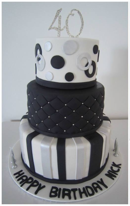 Black White Silver 40th Tier Birthday Cake