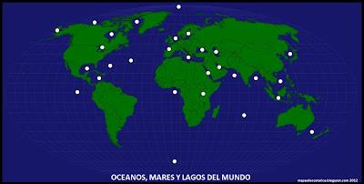 Ubicación de los OCEANOS, MARES Y LAGOS mas importantes del DEL MUNDO