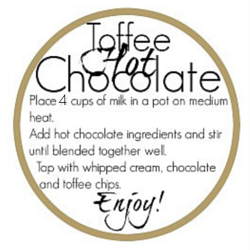 toffee hot chocolate print label