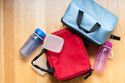 lunch boxes, water bottles, and snack containers
