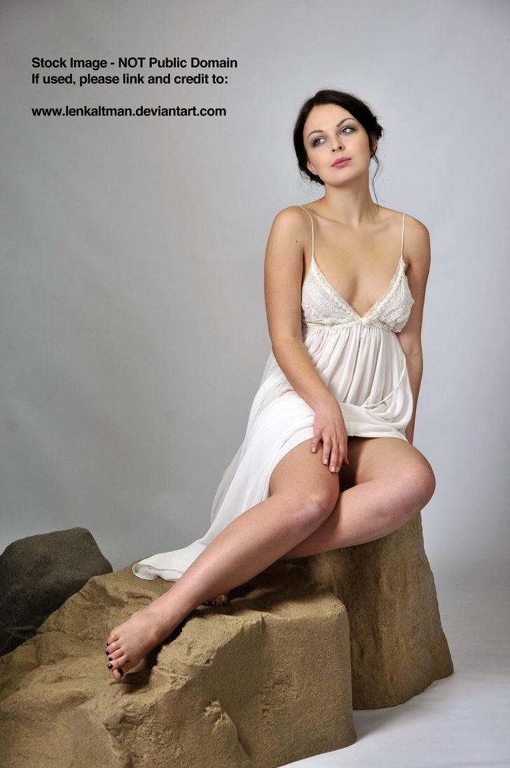 STOCK: Anastasia posing elegantly on a rock (Sitting)