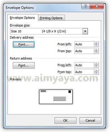 Gambar: Mengatur ukuran amplop dan tulisan alamat pengirim serta penerima