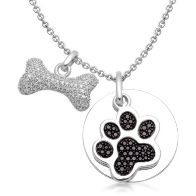 dog paw and bone pendant necklaces