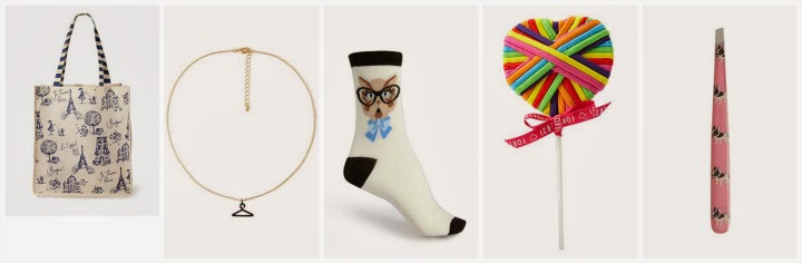 Forever 21 wishlist, gift guide, Parisian tote, kitty with glasses socks, hanger necklace, lollipop elastics, doggy tweezers