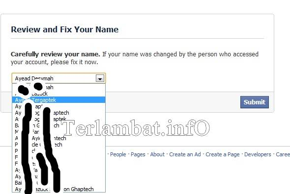 Cara Ganti Nama FAcebook Terbaru 2012