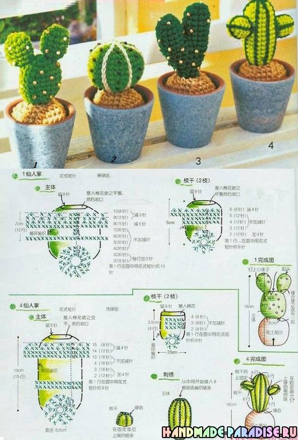 Схемы Цветущий вязаный кактус.